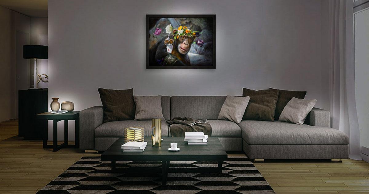 een hedendaagse schilderijverlichting met behulp van spots