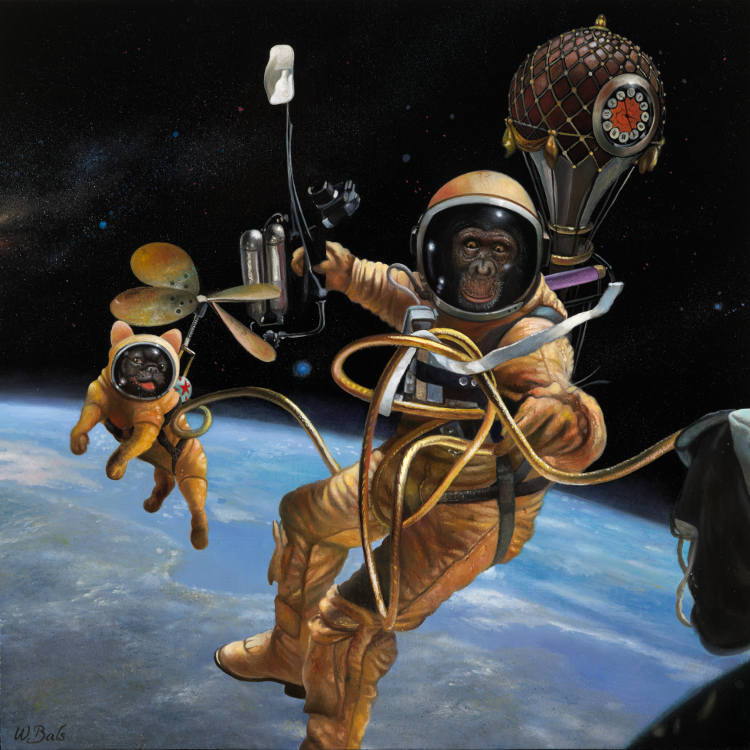 French bulldog with a chimpanzee in Space
